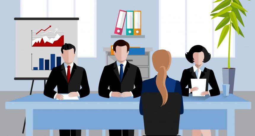 Human resources at business meeting in office flat background vector illustration